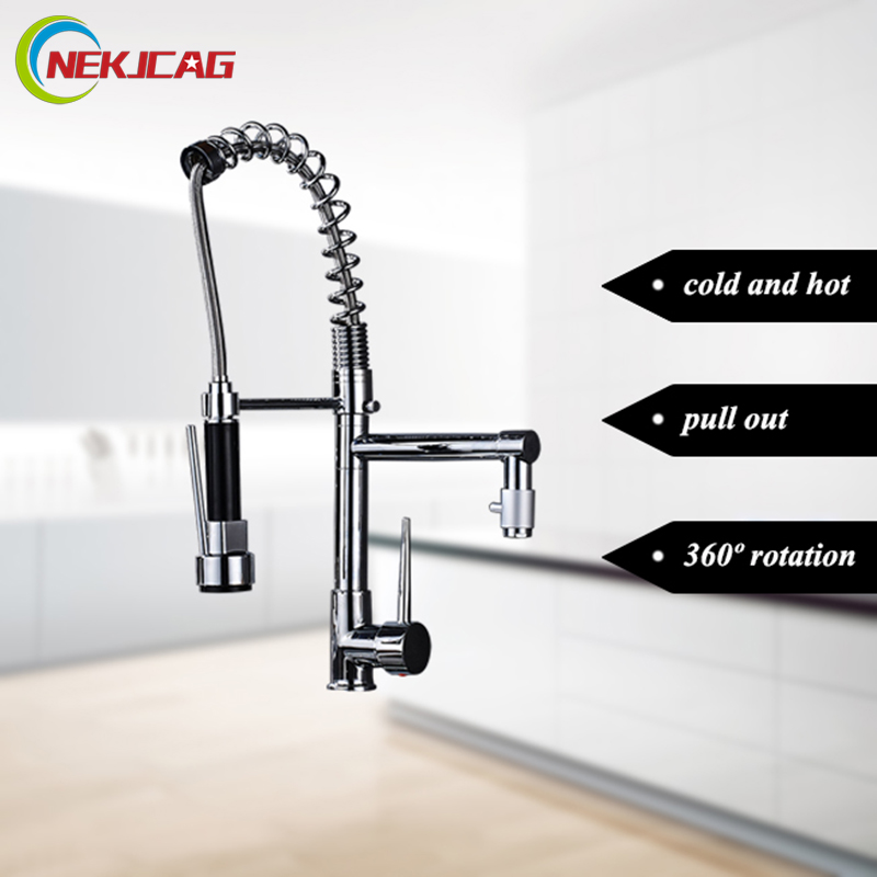 Chrome Kitchen Pull Out Faucet Hot And Cold American Copper Spring Sink faucet swivel Mixer Tap