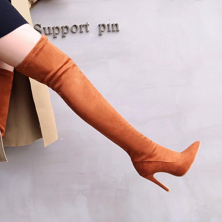 GOXPACER Long Tube chaussures femmes bout pointu moto bottes femmes talons hauts mode troupeau tout Match confortable au-dessus du genou Zip