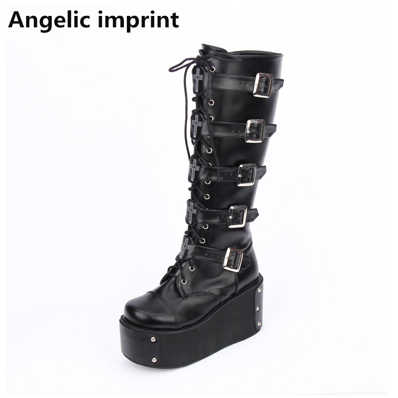 Angelic imprint mori girl 여성 펑크 오토바이 부츠 레이디 로리타 부츠 여성 높은 사소한 발 뒤꿈치 웨지 펌프 플랫폼 신발 46-에서미드 카프 부츠부터 신발 의  그룹 1