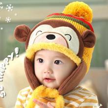 Fashion Baby Kids Girl Boy Winter Hats Warm Cap Cartoon Monkey Striped Ball  Ear Caps Newborn 17186f38564f