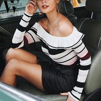 WYHHCJ 2018 winte Sexy off shoulder stripe sweater women Elegant ruffles autumn sweater pullover Casual sweater femme pullover
