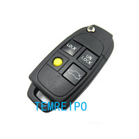 3+1 Yellow Button Flip Folding Remote Car Key Case Shell Blank For Volvo S60 S70 C70 XC70 XC90