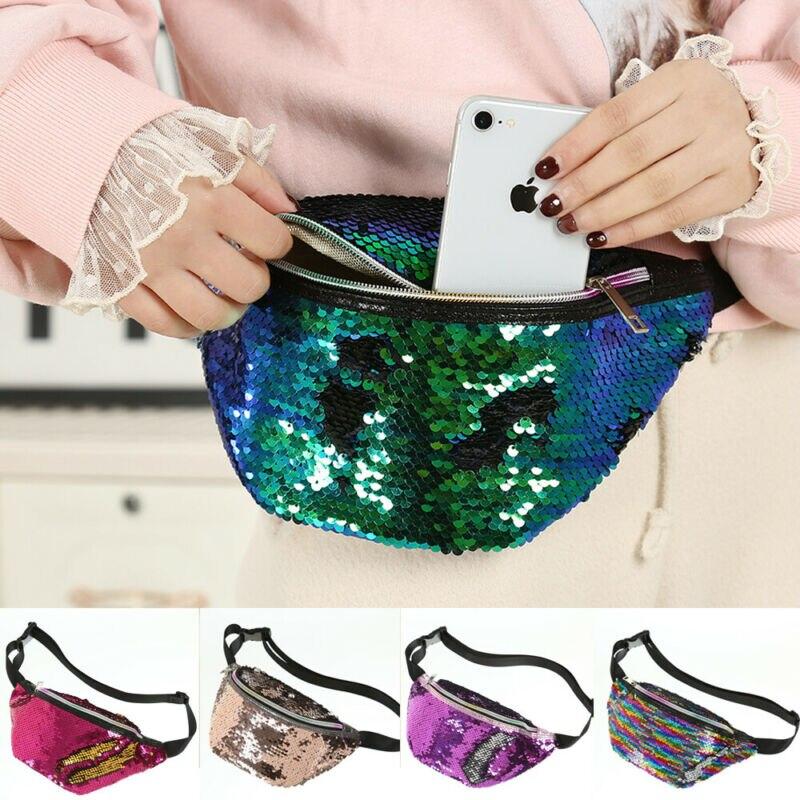 Hot Women Girls Waist Fanny Pack Belt Bag Casual PU Fashion Paillette Chest Pouch Hip Bum Bag Small Purse