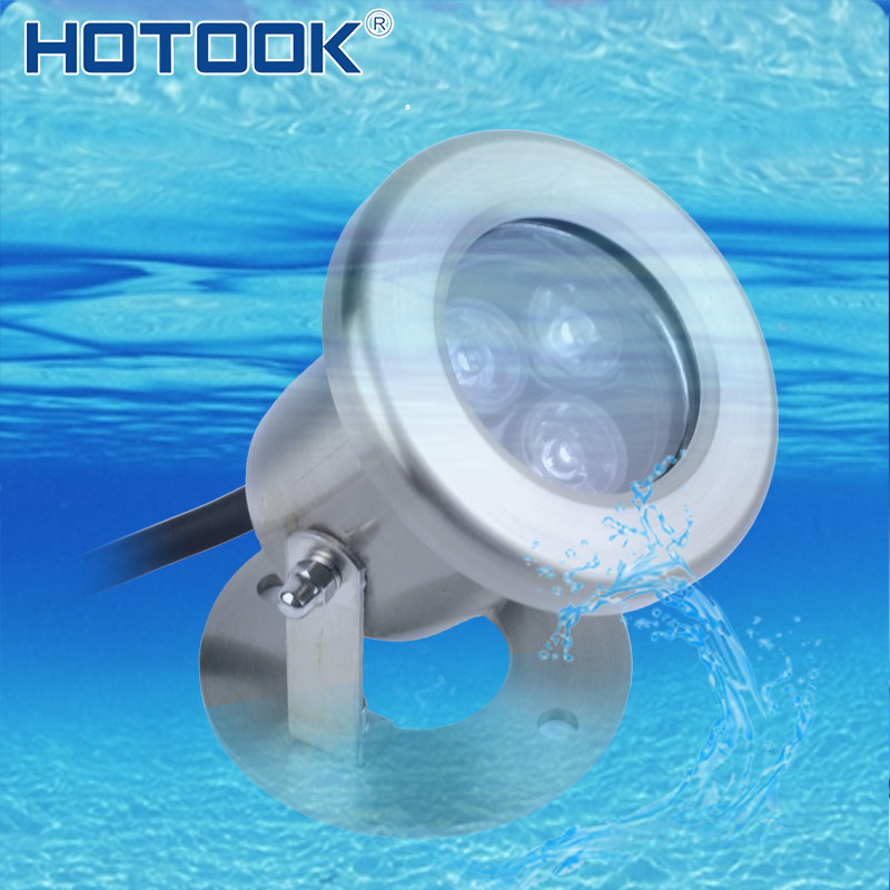 HOTOOK Underwater Lights RGB IP68 Submersible LED Pool light 3W Stainless Steel Spotlight for Fountain Pond