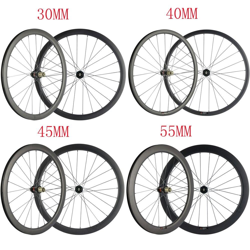 Juego de ruedas de carbono de freno de disco 30/40/45/55 Sin Bloqueo de superficie de frenado las ruedas