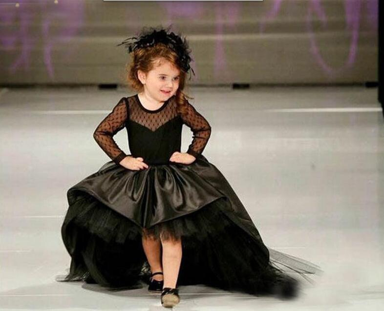 Glizt Black Flower Girl Dresses High Low Scoop Long Sleeves Floor Length Satin Tulle Ball Gown Kids Wedding Party Dresses high low hem long sleeves sweatshirt