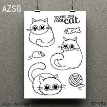 AZSG Lovely cat Clear Stamps/seal for DIY Scrapbooking/Card Making/Photo Album Decoration Supplies