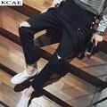 Calças de brim Dos Homens Rasgado Jeans Skinny Novo 2016 Homens Designer De Calças de Jeans Hip Hop Denim Macacão Preto Macacão Mens Moda