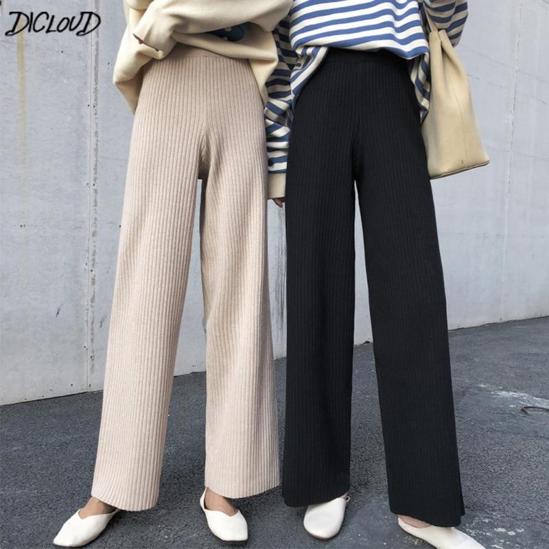 DICLOUD Korean Long Pants Women Winter Loose Elastic Waist Trousers Ladies Knitted Pants Woman Plus Size Straight Pantalon Black