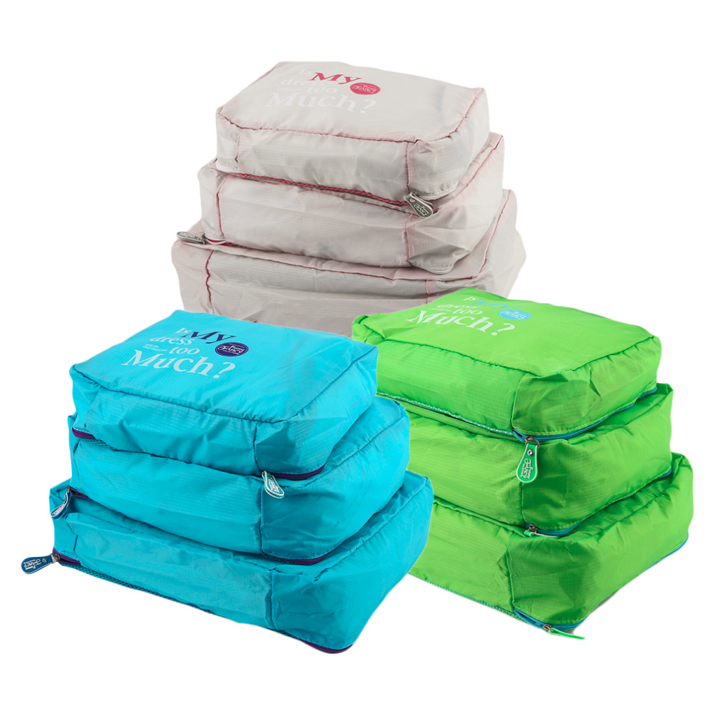 2017 Hot Sale Portable Mesh Pouch Zipper Suitcase Organizer Sets Travel Luggage Storage Bag Nylon Clothes Organizer Case 3PCS