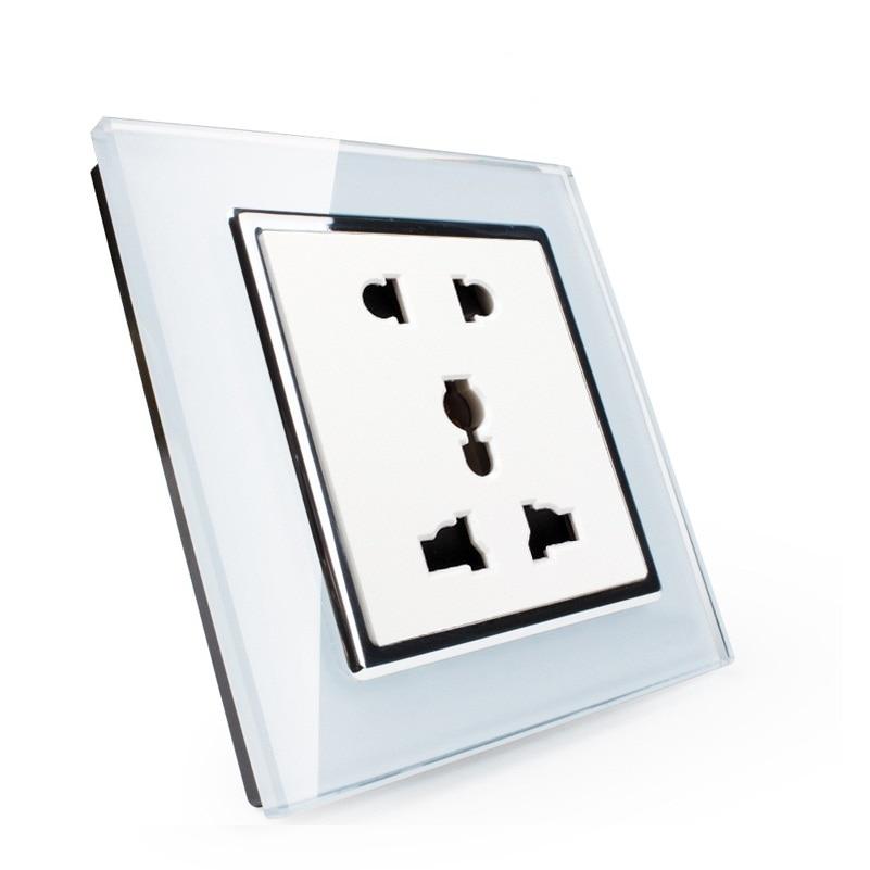 все цены на EK Standard Multi Function Crystal Glass Panel,Universal Power Socket with Five Hole Socket for Home Appliance Socket онлайн