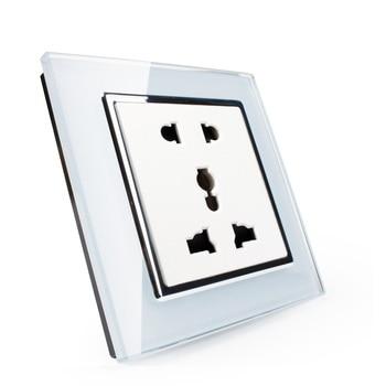 EK Standard Multi Function Crystal Glass Panel,Universal Power Socket with Five Hole Socket for Home Appliance Socket