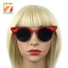 Люксовый бренд алмаз Очки Ретро кошачий глаз Солнцезащитные очки для женщин Для женщин Летний стиль цветы Защита от солнца Очки женские очки ювелирные изделия Интимные аксессуары