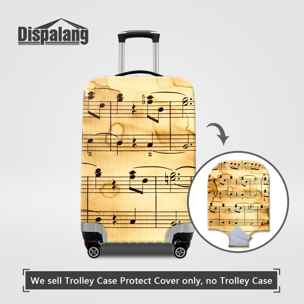 Dispalang 3D printing musical note case on suitcase for travel luggage protective dust covers for 18 20 22 24 26 28 30 inch case