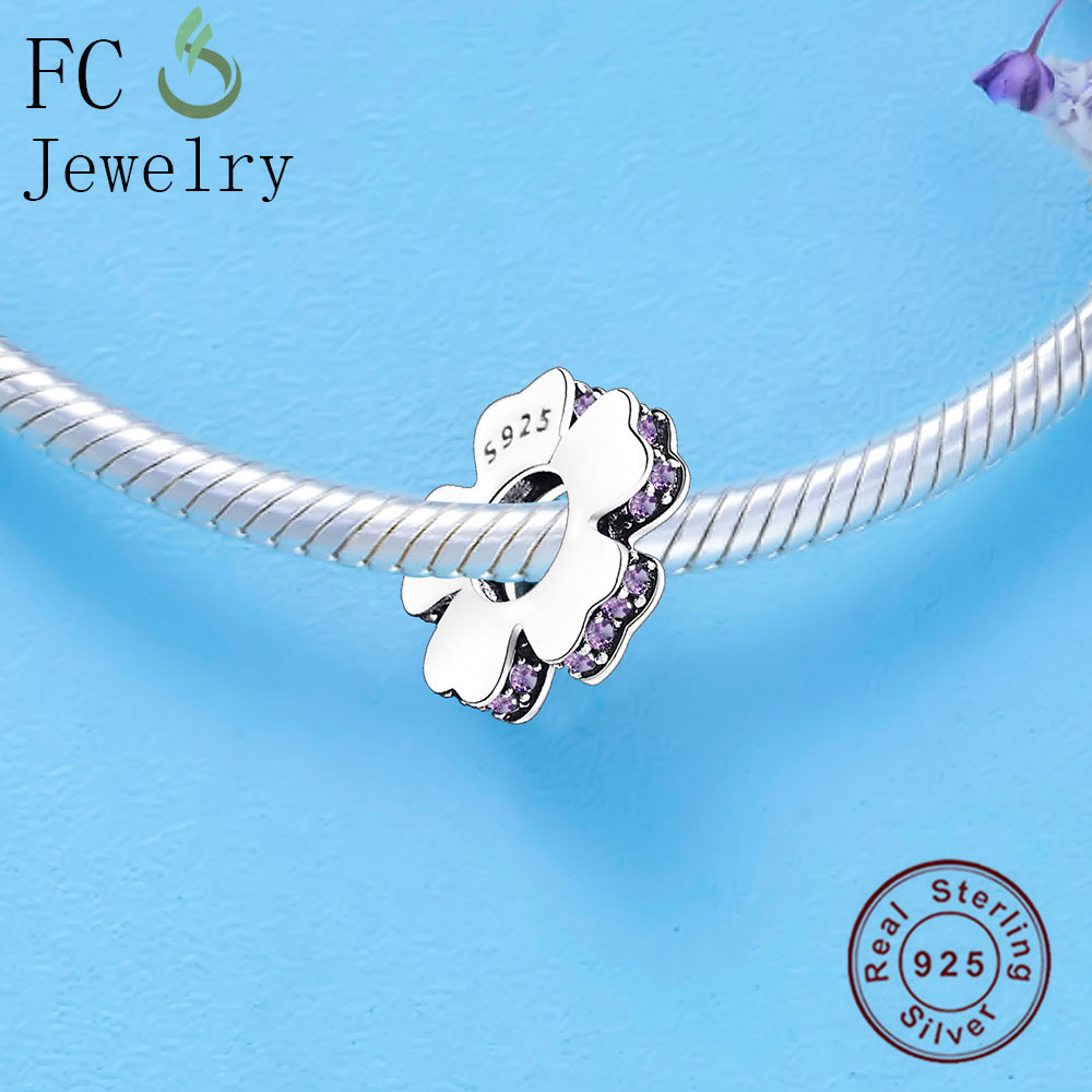 FC Jewelry Fits Original Pandora Charms Bracelets 925 Silver Flowers Beads Kralen Rondelle Spacer for DIY Making Berloque Gifts