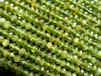 Wholesale Natural 3 5mm Peridot Faceted Rondelle Shiny Beads Stones