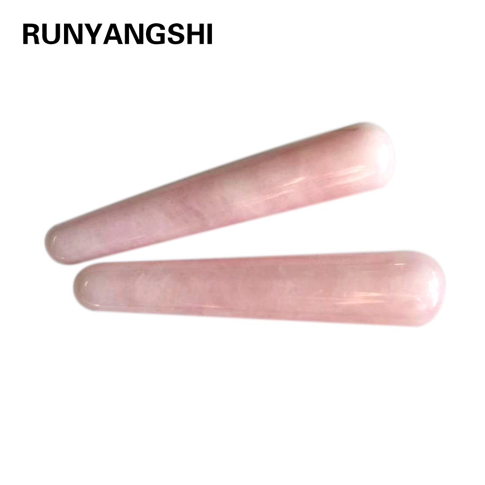 1PC AAA Quality Natural Rose Quartz Yoni Wands Gemstone Crafts Pleasure Wand Body Hand Massage Wood Magic Stone Ornament Gifts