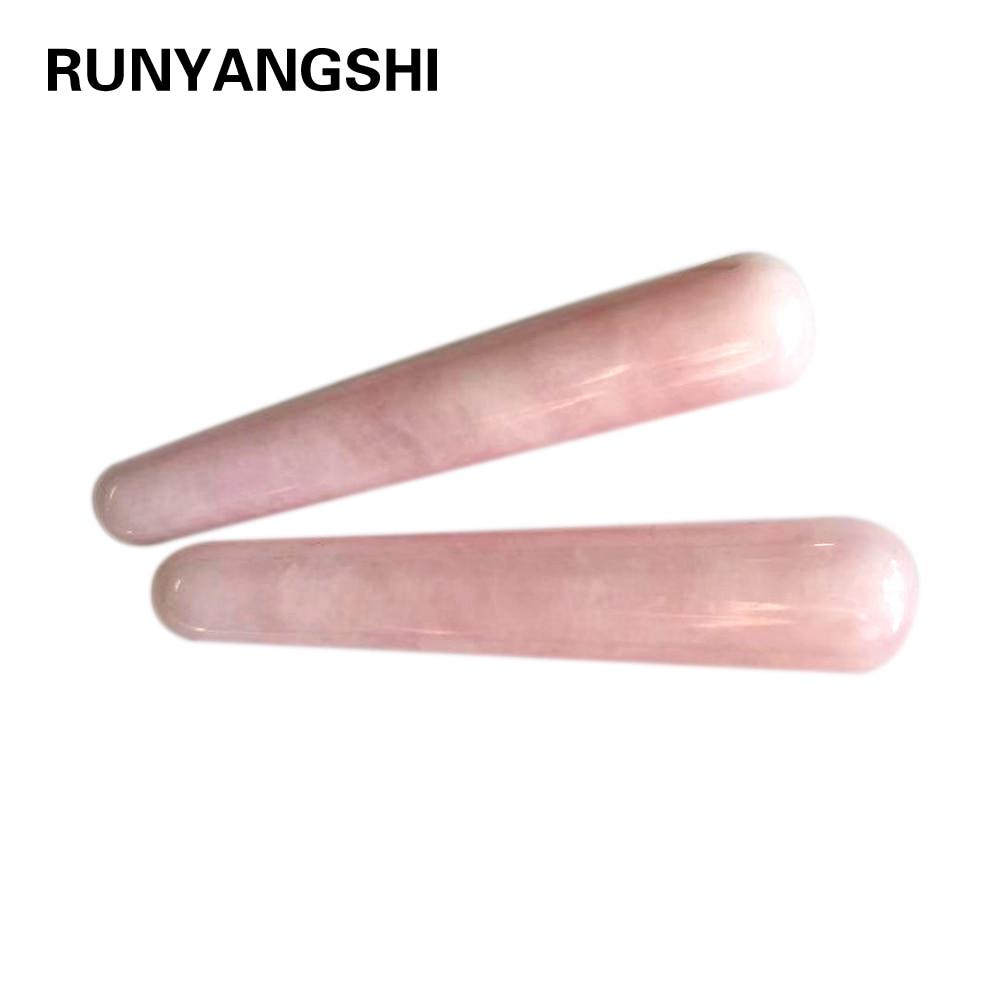 1PC AAA Quality Natural Rose Quartz Yoni Wands Gemstone Crafts Pleasure Wand Body Hand Massage Wood Magic Stone Ornament Gifts