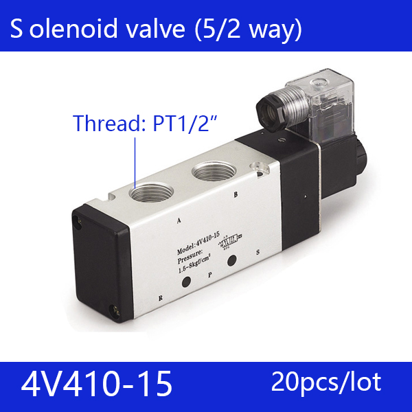 20pcs Free shipping good qualty 5 port 2 position Solenoid Valve 4V410-15,have DC24v,DC12V,AC24V,AC36V,AC220V,AC380V the supply of the original electromagnetic valve 4v410 15 ac220v