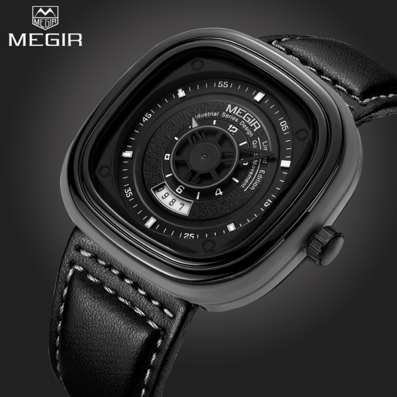 2017 New Mens Watches Megir Brand Special design Military Leather Sports Quartz Watch Men Large dial Clock Relogio Masculino new 100% handmade head deer elk dial design mens bamboo wood quartz watch with real leather strap for gift relogio masculino
