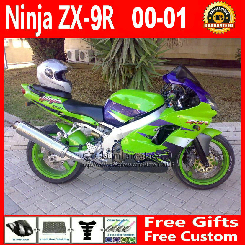 Compression mold bodykit for Kawasaki fairing kits ZX9R 2000 2001 ZX 9R 00 01 Ninja customize green purple body parts+7Gifts compression mold bodykit for kawasaki fairing kits zx9r 2000 2001 zx 9r 00 01 ninja customize green purple body parts 7gifts