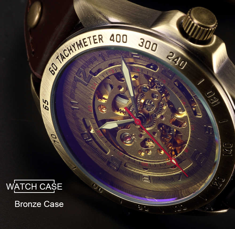 Skeleton Automatic Mechanical Watch Men Bronze Steampunk Watch Mens Transparent Retro Leather Vintage Watches Clock montre homme
