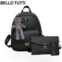 BELLO TUTTI Women PU Leather Backpack Girls Shcool Bags Fashion Backpacks Shoulder Bag Purse With Bear