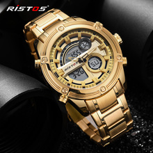 RISTOS Relojes Masculino Top Chronograph Multifunction Men Sports Full Steel Analog Watches Digital Man Fashion Wrist watch 9340
