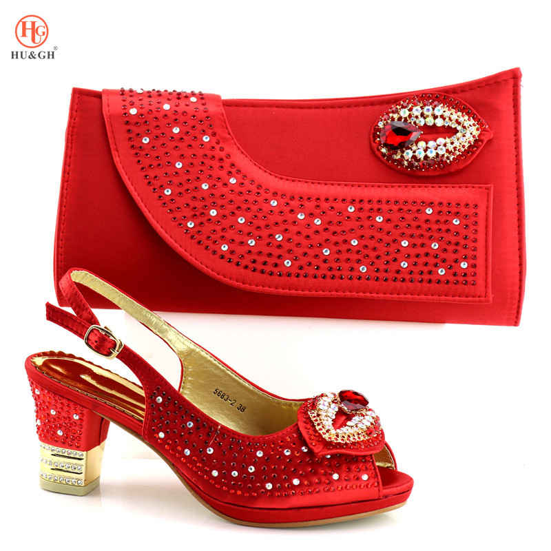Red Shoe And Bag African shoe and bag set high heel Italian shoe with matching bag best selling ladies Wedding High Heels Shoe цены онлайн