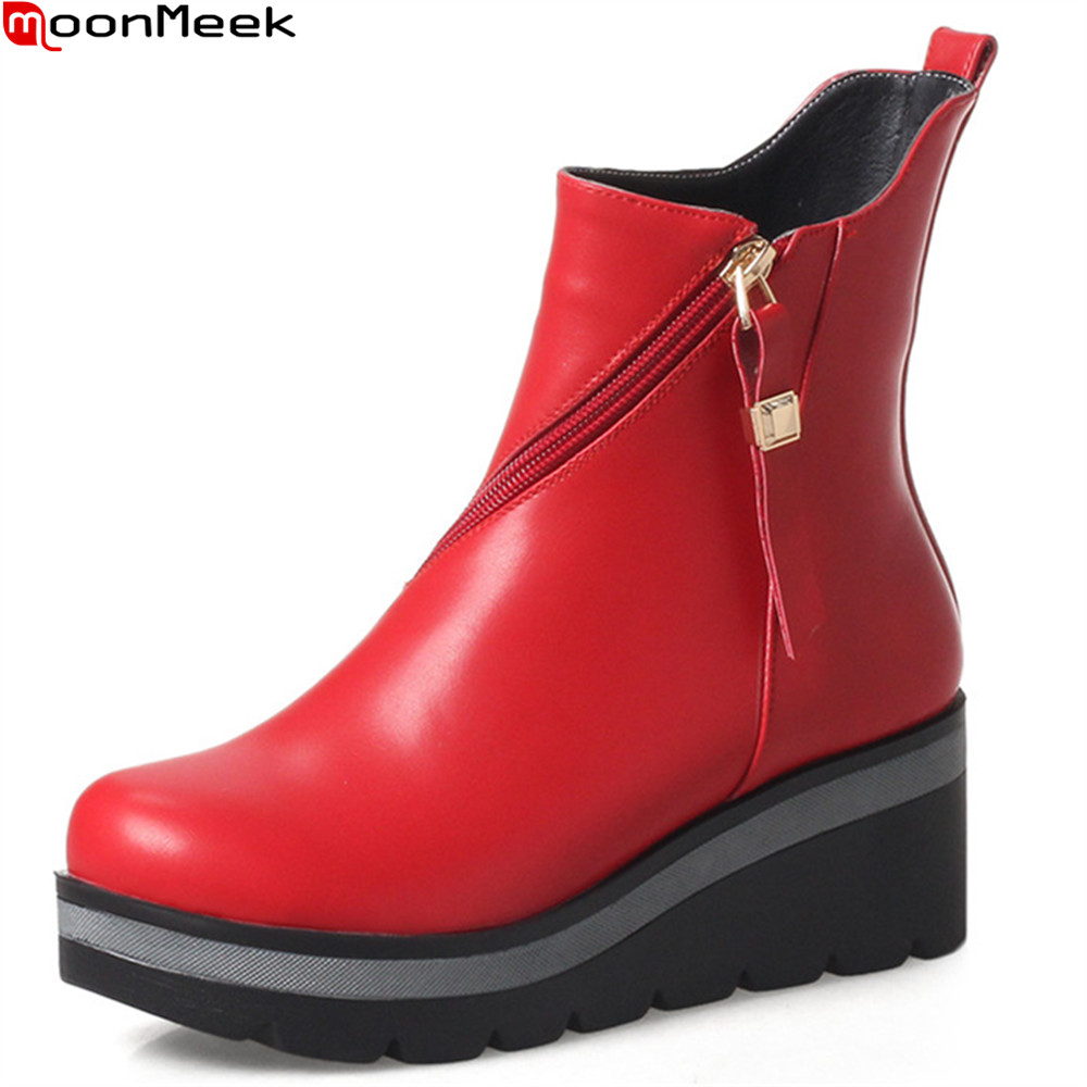 MoonMeek hot sale women boots fashion black red white zipper ladies wedges boots platform ankle boots high quality pu moonmeek fashion winter new arrive women boots black red white super high ladies boots zipper buckle ankle boots platform