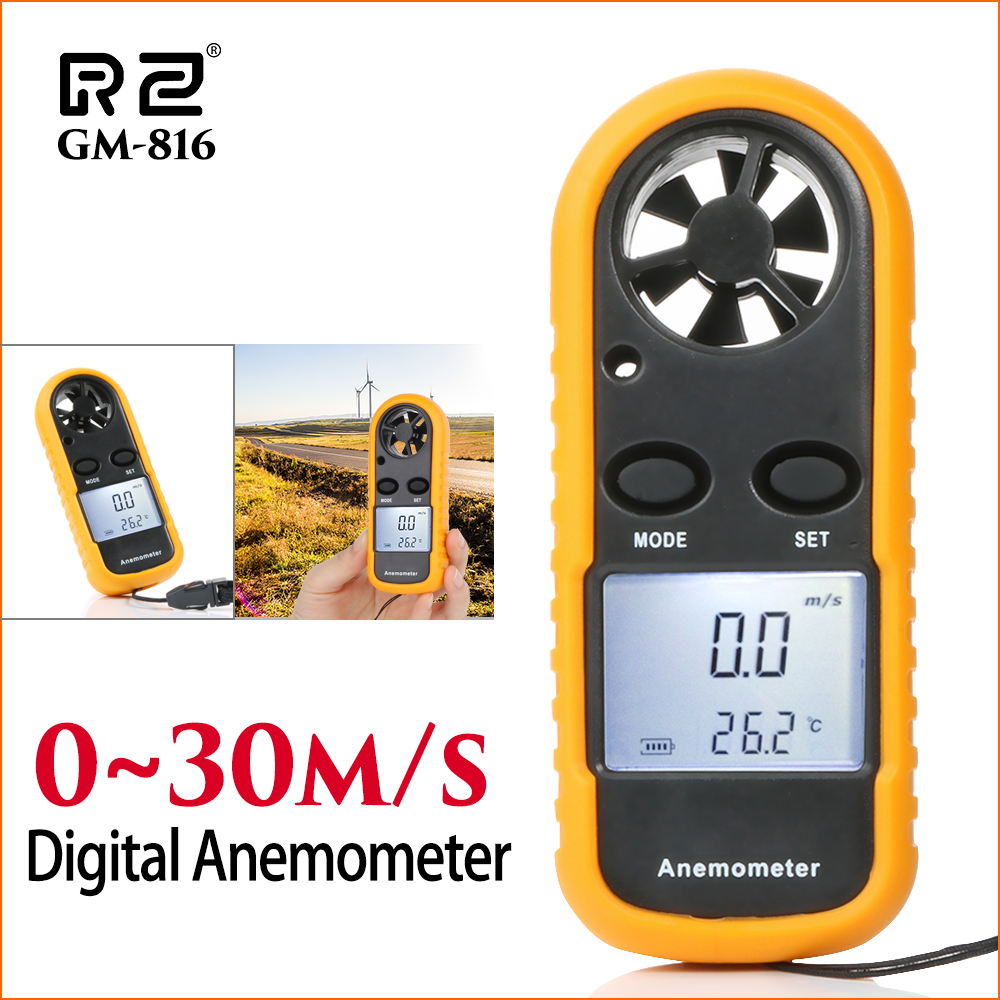 RZ Anemometer Wind Meter Anemometro Lcd Digital Wind Speed Meter Sensor Portable 0-30m/S GM816 Mini Anemometer Wind Speed Meter