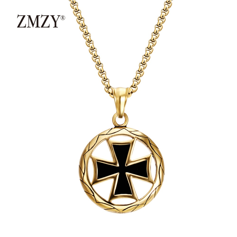Zmzy metal swastika pendant necklaces gold color stainless for Black and blue jewelry cross necklace