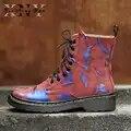Bottes pour femmes automne Martins en cuir de vache broder grande taille 33 43 dames mode Martin chaussures femmes Oxfords chaussures à talons Chunky
