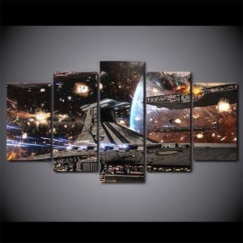 Печатные картины HD модульная плакаты домашний Декор современный 5 панель печатных Звездные войны фильм космический корабль Tableau стены книг...