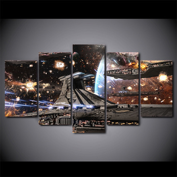Printed HD Paintings Modular Posters Home Decor Modern 5 Panel Printed Star Wars Movie Spaceship Tableau Wall Art Canvas Picture