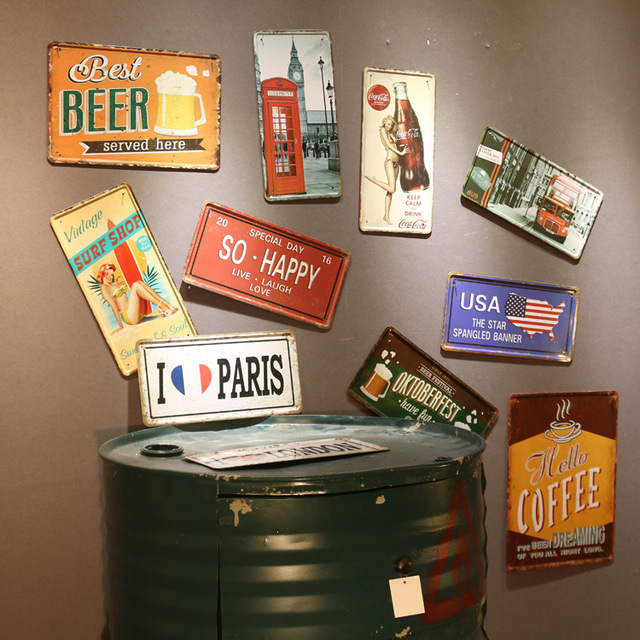 Free ship Vintage Metal painting tin sign about BEER WINE BAR retro ...