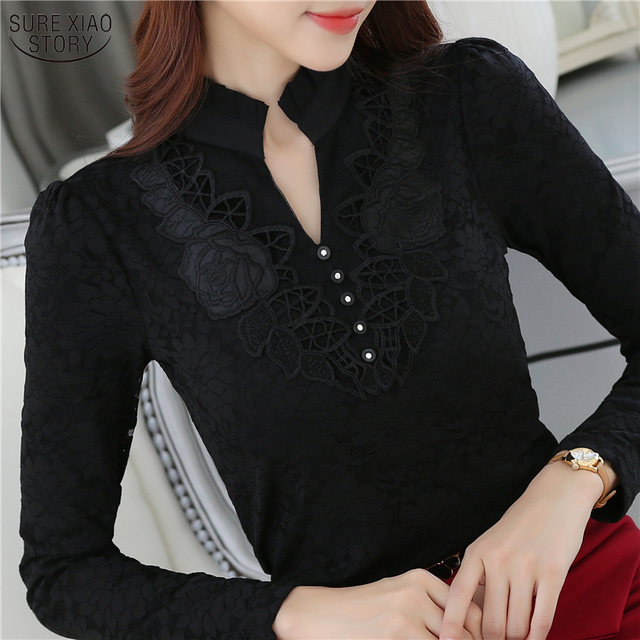 2016 New Autumn fashion Plus size ladies lace shirts Casual Chiffon slim shirt Tops Elegant Women clothing Floral blouse 880G 25