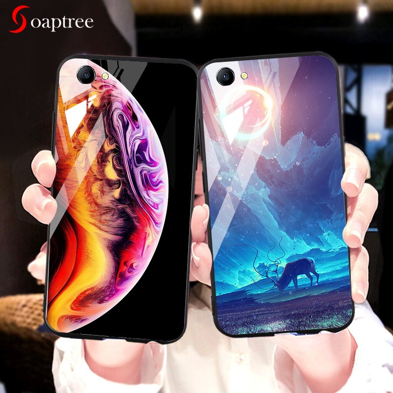 Tempered <font><b>Glass</b></font> <font><b>Case</b></font> For <font><b>OPPO</b></font> <font><b>A3</b></font> A9 A9X F11 <font><b>Cases</b></font> Star Space Silicone Back Cover Coque On the For <font><b>OPPO</b></font> A1K Covers Bumper Capa image
