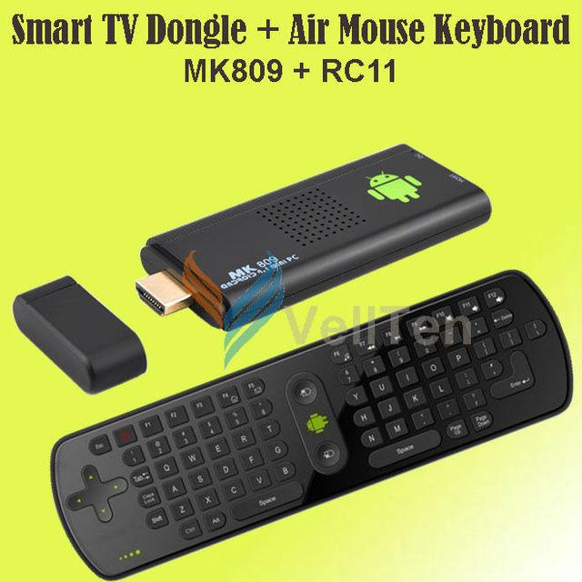 US $66 99 |Android 4 1 TV Box Google Media Player/mini PC MK809 joystick  dongle Cortex A9 Dual Core RK3066 IPTV 4GB + Air Keyboard RC11-in TV Stick