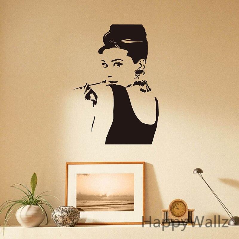Modern Wall Sticker Andrey Hepburn Wall Decal Diy Decorating Audrey