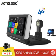AOTOLOOK T804 New Car 4G GPS Navigation Bluetooth Google RAM 1GB Double lens Full HD 1080P Android Car DVR tourist navigator(China)