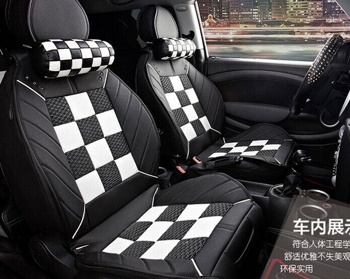 Checkered Four Seasons Leather Car Seat Covers For Mini Cooper S