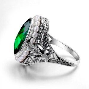 Image 4 - Szjinao anel de prata 925 simples pérola natural pedra preciosa anéis para mulher esmeralda pedra verde rendas vintage noivado sieraden