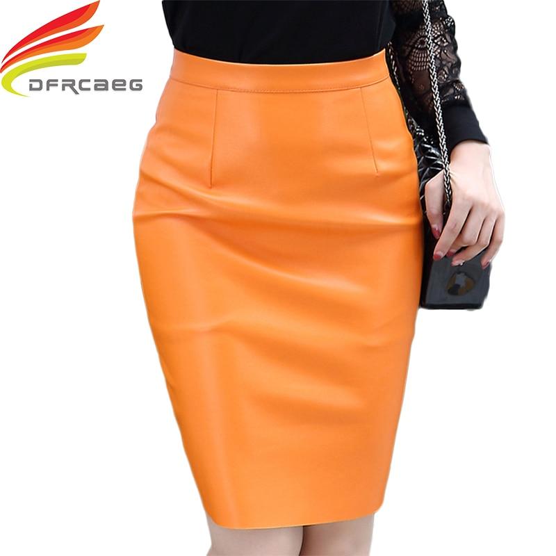 1aab43e38 Comprar Couro Saia Lápis Para As Mulheres Outono Inverno 2018 Moda de Nova  Saias Estilo Coreano Mulheres Cintura Alta Amarelo Preto Sexy Midi saia  Baratas ...