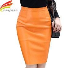 b39d16b30e5047 Lederen Kokerrok Voor Vrouwen Herfst Winter 2018 Nieuwe Mode Rokken  Koreaanse Stijl Vrouwen Hoge Taille Geel