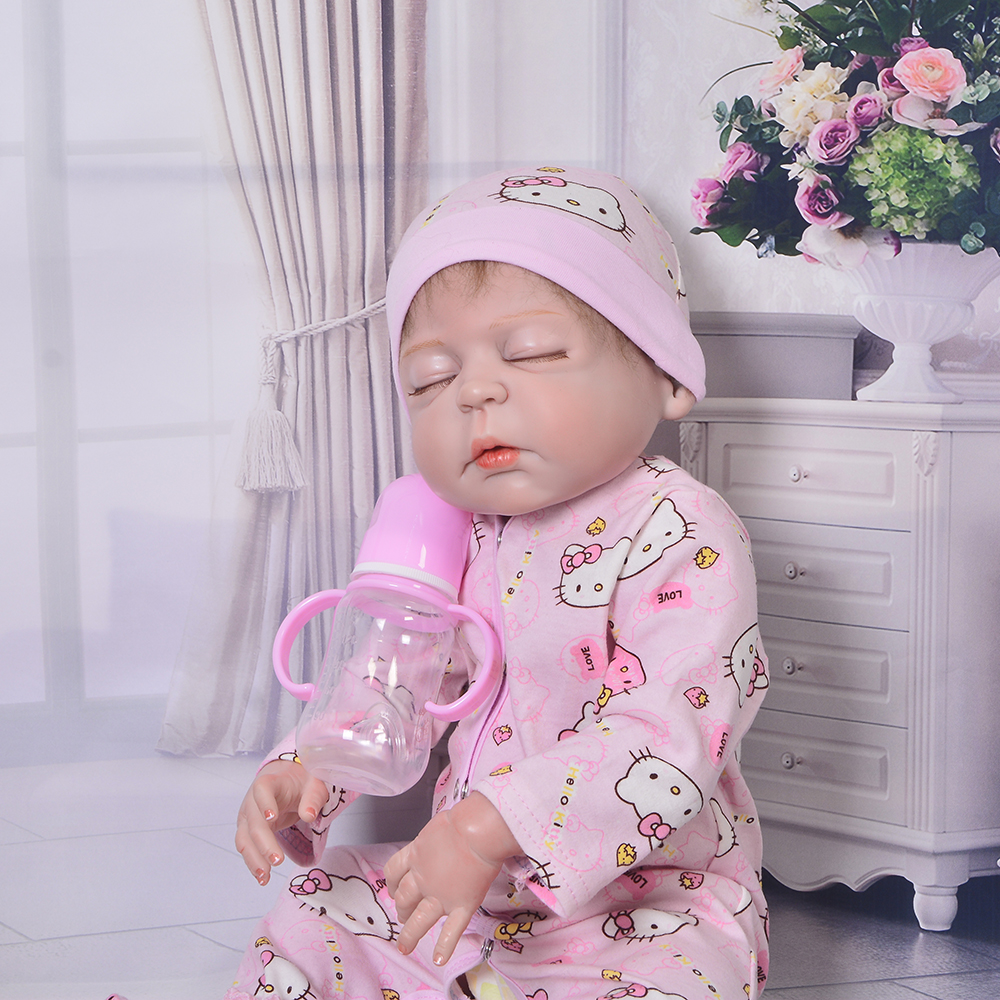 Limited Collection 23'' 57 cm Baby Reborn Doll Sleeping Girl Toy Full Silicone Vinyl Realistic Boneca Reborn Children's Day Gift keiumi 23 babies girl reborn baby doll full body silicone vinyl realistic 57 cm princess new born boneca reborn boneca gifts