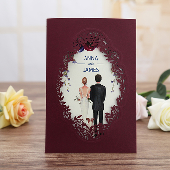 50pcs Burgundy Navy Blue Pink Gold  Vertical laser cut Quinceamera Anniversary party invitation