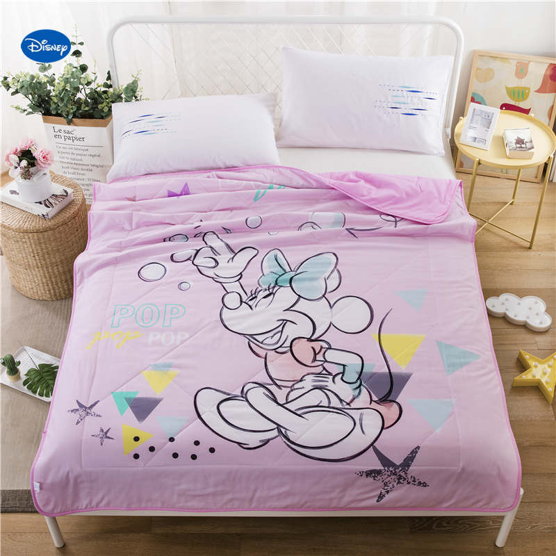 Pink Color Disney Minnie Mouse Quilts Summer Comforters Bedding Cotton Covers Childrens Girls Bedroom Decor 150*200cm 200*230cm