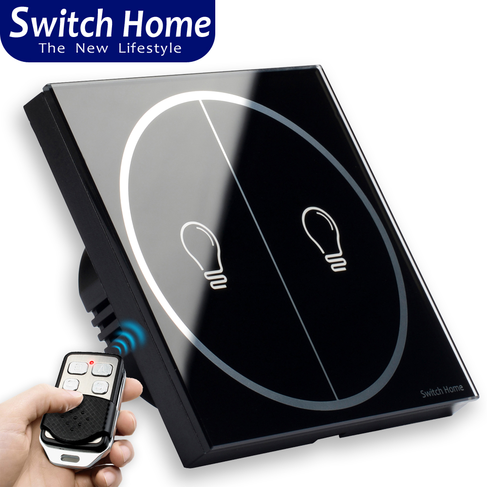 Switch home Wireless remote control touch switch, EU/UK Standard wall switch, black 2 gang button Sensor RF433 light SwitchSwitch home Wireless remote control touch switch, EU/UK Standard wall switch, black 2 gang button Sensor RF433 light Switch
