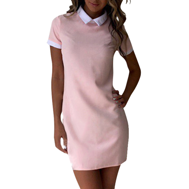 57c779319f3 Summer Dress Robe Women Turn-down Collar Short Sleeve Office Dresses Casual  Straight Mini Dress Mujer Pink GV634